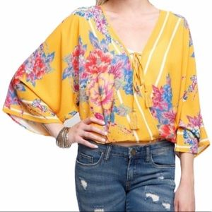 Flying Tomato Yellow Floral Faux Wrap Boho Top
